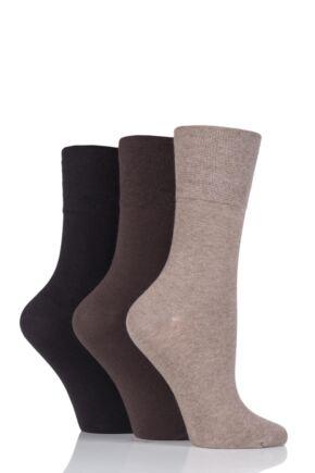 Ladies 3 Pair Iomi Footnurse Gentle Grip Diabetic Socks Dark Brown 4-8