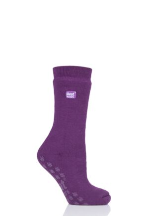 Ladies 1 Pair Iomi Heat Holders Raynaud's Socks Violet 4-8 Ladies