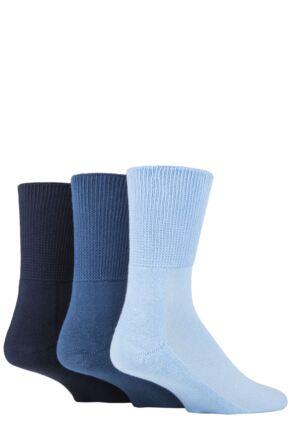 SOCKSHOP Iomi Footnurse Bamboo Cushioned Foot Diabetic Socks Blue 12-14 Unisex