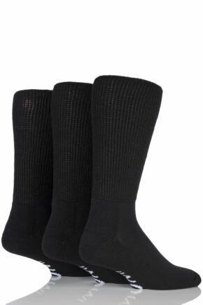 Mens 3 Pair Iomi Footnurse Gentle Grip Cushioned Foot Diabetic Socks Black 6-8.5 Mens