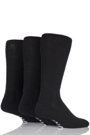 Mens 3 Pair Iomi Footnurse Gentle Grip Cushioned Foot Diabetic Socks Black 6-8.5 Mens