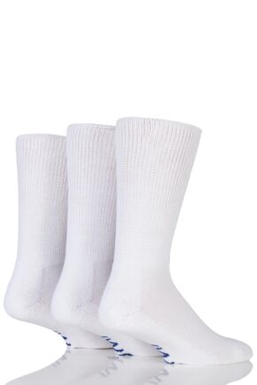 Mens 3 Pair Iomi Footnurse Gentle Grip Cushioned Foot Diabetic Socks White 9-11 Mens