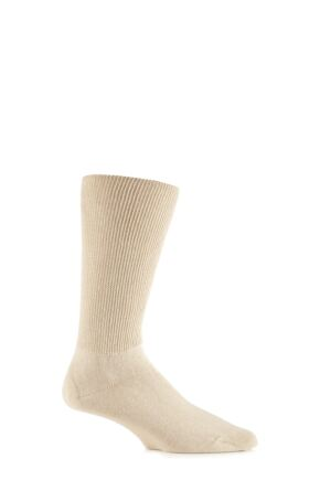 Mens 1 Pair Iomi Footnurse Oedema Extra Wide Cotton Socks Beige 9-12
