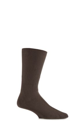 Mens 1 Pair Iomi Footnurse Oedema Extra Wide Cotton Socks Brown 6-8.5