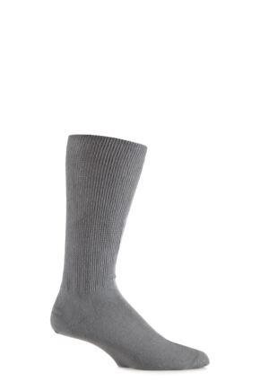 Mens 1 Pair Iomi Footnurse Oedema Extra Wide Cotton Socks Grey 9-12