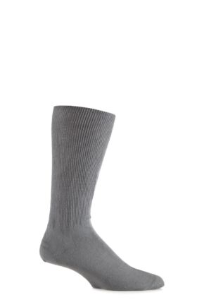 Mens 1 Pair Iomi Footnurse Oedema Extra Wide Cotton Socks Grey 12-14
