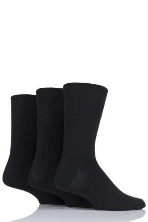 Mens 3 Pair Iomi Footnurse Gentle Grip Diabetic Socks Black 12-14 Mens
