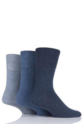 Mens 3 Pair Iomi Footnurse Gentle Grip Diabetic Socks Blue 12-14 Mens
