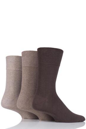 Mens 3 Pair Iomi Footnurse Gentle Grip Diabetic Socks Brown 6-11