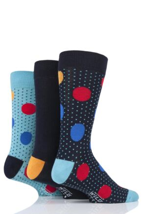 Mens 3 Pair SOCKSHOP Wild Feet Bamboo Large and Small Dots Socks