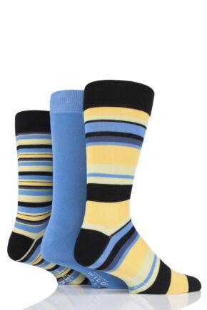 Mens 3 Pair SOCKSHOP Wild Feet Bamboo Multi Stripe Socks