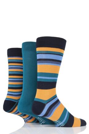 Mens 3 Pair SOCKSHOP Wild Feet Bamboo Multi Stripe Socks
