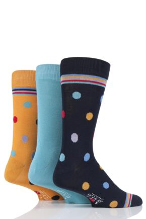 Mens 3 Pair SOCKSHOP Wild Feet Bamboo Spots Socks