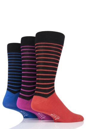 Mens 3 Pair SOCKSHOP Wild Feet Bamboo Striped Socks