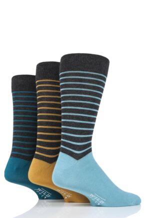 Mens 3 Pair SOCKSHOP Wild Feet Bamboo Striped Socks Charcoal 7-11 Mens