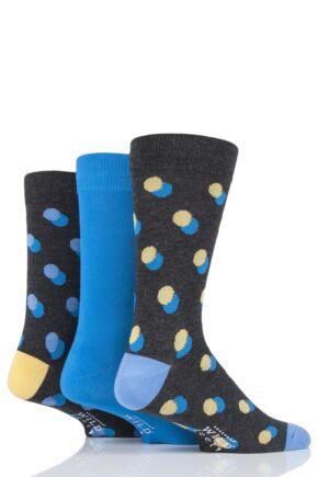 Mens 3 Pair SOCKSHOP Wild Feet Bamboo Double Dot Socks