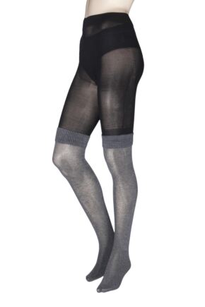 Ladies 1 Pair Jonathan Aston Boot Sock Tights Grey Large
