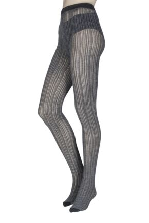 Ladies 1 Pair Jonathan Aston Linear Cable Tights Grey Large
