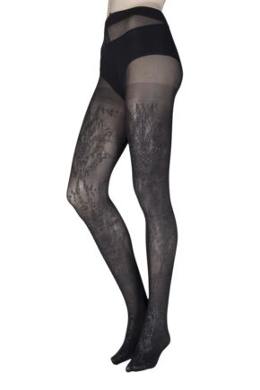 Ladies 1 Pair Jonathan Aston Twilight Floral Front Tights