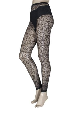 Ladies 1 Pair Jonathan Aston Treasure Lace Design Footless Tights