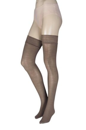 Ladies 1 Pair Trasparenze Jennifer 100 Denier Merino Wool Hold Ups Grey Large / Extra Large