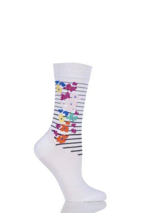 Ladies 1 Pair Jonathan Aston Ecstatic Floral Striped Socks 33% OFF White OS