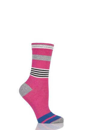 Ladies 1 Pair Jonathan Aston Impact Broken Striped Socks 25% OFF Magenta 4-8
