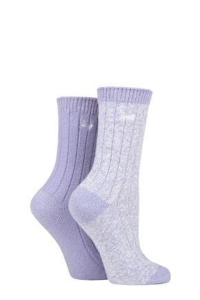Ladies 2 Pair Jeep Super Soft Ribbed Boot Socks Lilac / Cream 4-8 Ladies