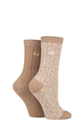 Ladies 2 Pair Jeep Super Soft Ribbed Boot Socks
