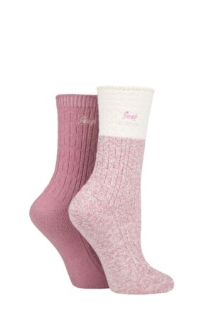 Ladies 2 Pair Jeep Super Soft Cable Knit Boot Socks Rose / Cream 4-8 Ladies