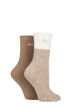 Ladies 2 Pair Jeep Super Soft Cable Knit Boot Socks Tan / Cream 4-8 Ladies