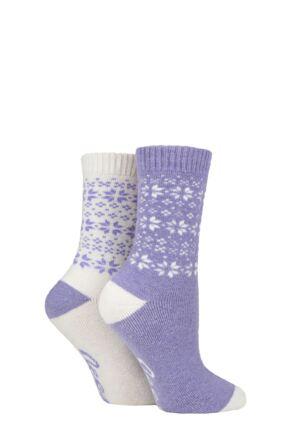 Ladies 2 Pair Jeep Wool Blend Cushioned Boot Socks Lilac / Cream 4-8 Ladies