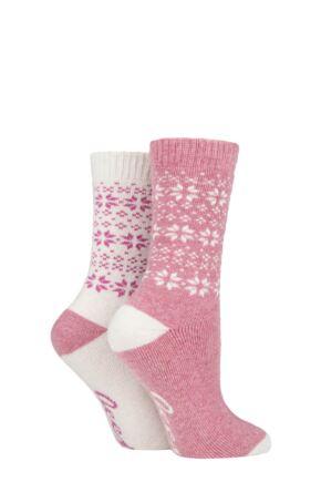 Ladies 2 Pair Jeep Wool Blend Cushioned Boot Socks Rose / Cream 4-8 Ladies