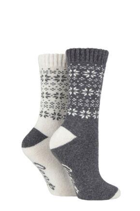 Ladies 2 Pair Jeep Wool Blend Cushioned Boot Socks Slate / Cream 4-8 Ladies