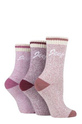 Ladies 3 Pair Jeep Cushioned Performance Boot Socks Rose / Cream 4-8 Ladies