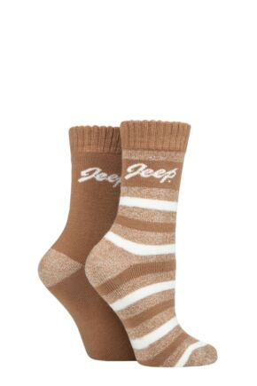 Ladies 2 Pair Jeep Cushioned Brushed Thermal Boot Socks Tan / Cream 4-8
