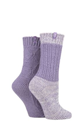 Ladies 2 Pair Jeep Wool Blend Cable Knit Boot Socks
