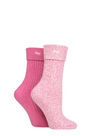 Ladies 2 Pair Jeep Super Soft Turn Over Top Polyester Boot Socks