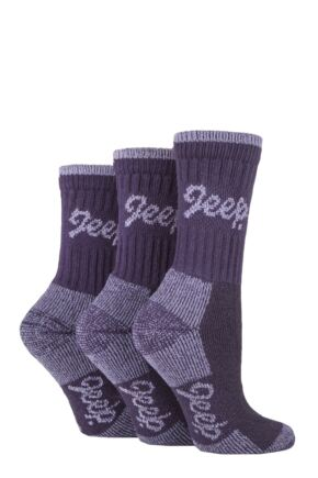 Ladies 3 Pair Jeep Luxury Terrain Boot Socks Lilac / Purple 4-8 Ladies
