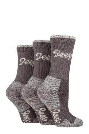 Ladies 3 Pair Jeep Luxury Terrain Boot Socks Slate / Cream 4-8 Ladies