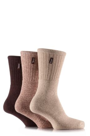Mens 3 Pair Jeep Terrain Leisure Socks Browns