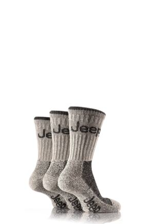 Mens 3 Pair Jeep Luxury Terrain Socks Grey 6-11