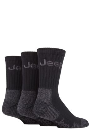 Mens 3 Pair Jeep Luxury Terrain Boot Socks Black / Grey 6-11 Mens