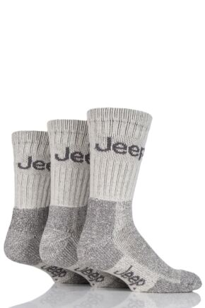 Mens 3 Pair Jeep Luxury Terrain Socks Ecru 6-11 Mens