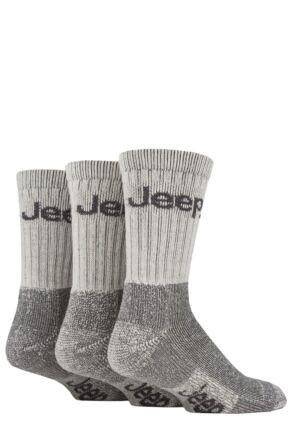 Mens 3 Pair Jeep Luxury Terrain Boot Socks Ecru / Grey 6-11 Mens
