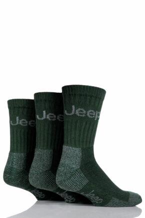 Mens 3 Pair Jeep Luxury Terrain Boot Socks Forest Green 6-11 Mens