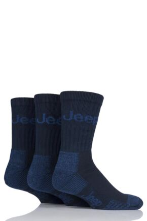 Mens 3 Pair Jeep Luxury Terrain Socks Navy 6-11 Mens