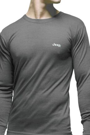 Mens 1 Pack Jeep Long Sleeved Thermal T-Shirt Grey S