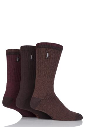 Mens 3 Pair Jeep Urban Trail Cotton Sports Socks Brown 6-11 Mens