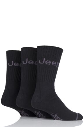 Mens 3 Pair Jeep Ribbed Cotton Boot Socks Black 2 6-11 Mens